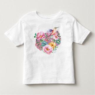 Camiseta Infantil Coração cor-de-rosa da aguarela da peônia com