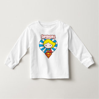 Camiseta Infantil Coração e logotipo de Chibi Supergirl Starburst
