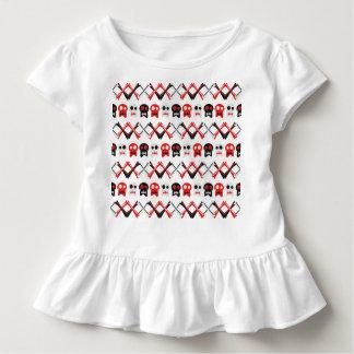 Camiseta Infantil Crânio cómico com teste padrão colorido cruzado