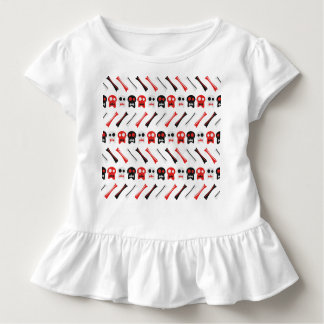 Camiseta Infantil Crânio cómico com teste padrão colorido dos ossos