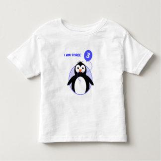 Camiseta Infantil Criança de três anos feita sob encomenda do azul