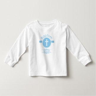 Camiseta Infantil Criança do menino customizável, azul do baptismo