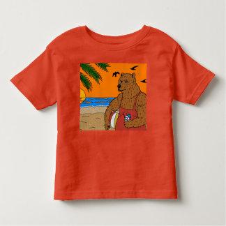 Camiseta Infantil Criança do t-shirt do urso da praia