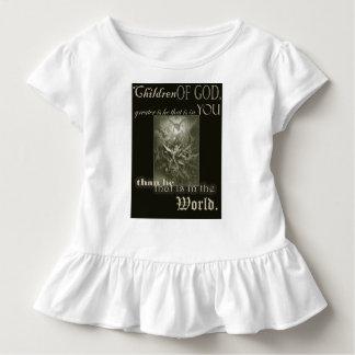 Camiseta Infantil Crianças do t-shirt do plissado da criança do deus