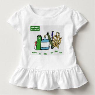 Camiseta Infantil Crianças unidas do T do plissado da criança de