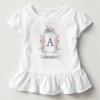 Camiseta Infantil Crista floral da aguarela com monograma