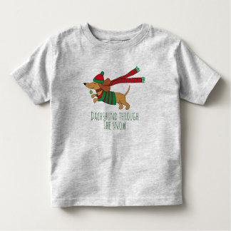 Camiseta Infantil Dachshund através do t-shirt do jérsei da criança