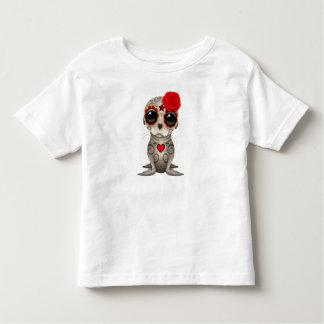 Camiseta Infantil Dia vermelho do leão de mar inoperante do bebê