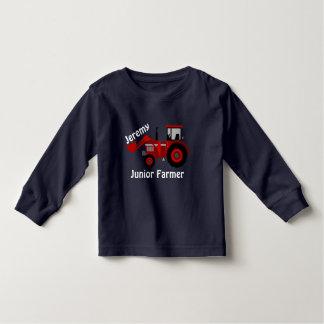 """Camiseta Infantil Divertimento """"fazendeiro júnior"""" e trator vermelho"""