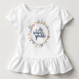 Camiseta Infantil É a estação à faísca - plissado da criança