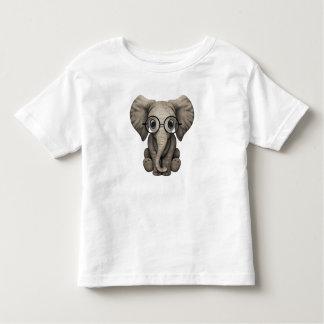Camiseta Infantil Elefante Nerdy do bebê que veste vidros