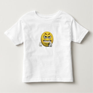 Camiseta Infantil Emoticon irritado amarelo ou smiley
