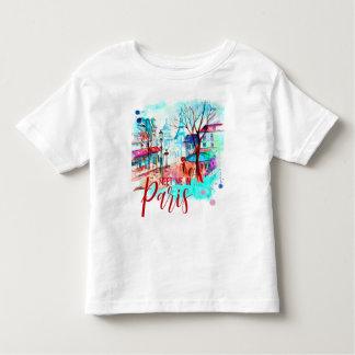 Camiseta Infantil Encontre-me na aguarela da torre Eiffel de Paris