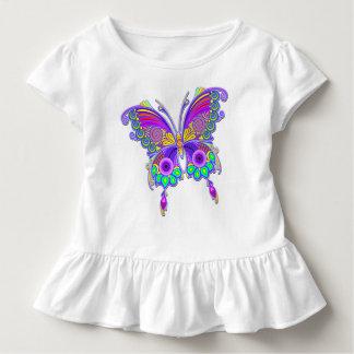 Camiseta Infantil Estilo colorido do tatuagem da borboleta