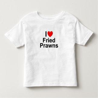 Camiseta Infantil Eu amo camarões fritados coração