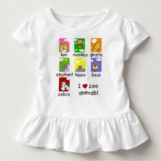 Camiseta Infantil Eu amo o T do plissado da criança dos animais do
