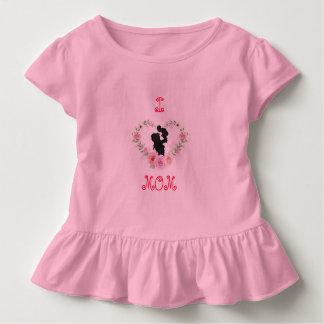 Camiseta Infantil Eu amo o T do plissado da mamã