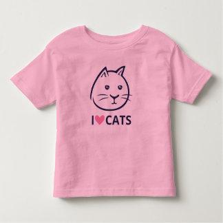 Camiseta Infantil Eu amo o t-shirt dos gatos