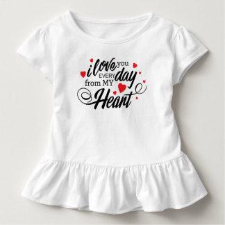 Camiseta Infantil Eu te amo T diário simples do plissado dos