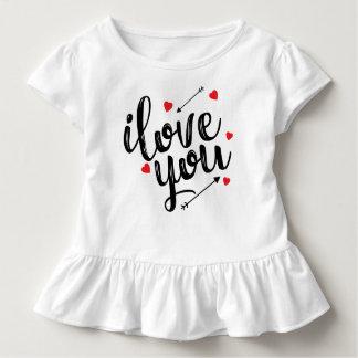 Camiseta Infantil Eu te amo T simples do plissado dos namorados  