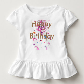 Camiseta Infantil Feliz aniversario do design feminino fantástico