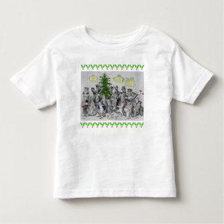 Camiseta Infantil Festa de Natal dos gatos de Louis Wain do vintage