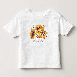 Camiseta Infantil Flores alaranjadas brilhantes - personalização