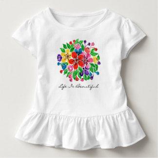 Camiseta Infantil Flores do arco-íris da aguarela