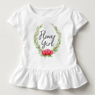 Camiseta Infantil Florista cor-de-rosa romântico da grinalda | da