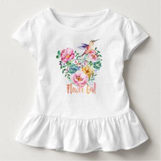 Camiseta Infantil Florista do buquê do coração do colibri