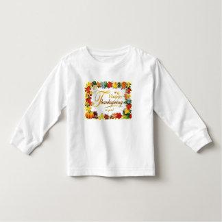Camiseta Infantil Folhas coloridas da acção de graças feliz do