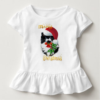 Camiseta Infantil Gatinho do smoking no Natal-texto