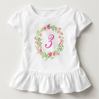Camiseta Infantil Grinalda floral da aguarela da menina do
