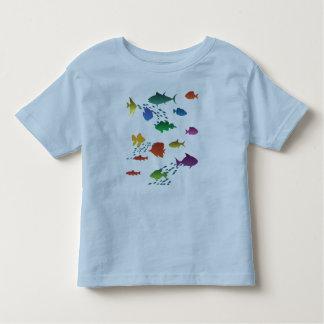 Camiseta Infantil Grupo colorido de peixes subaquáticos