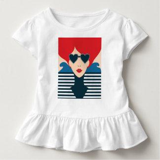 Camiseta Infantil Ilustração à moda francesa do chique da forma da