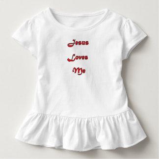 Camiseta Infantil Jesus ama-me T Ruffled criança