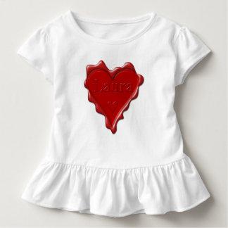 Camiseta Infantil Laura. Selo vermelho da cera do coração com Laura