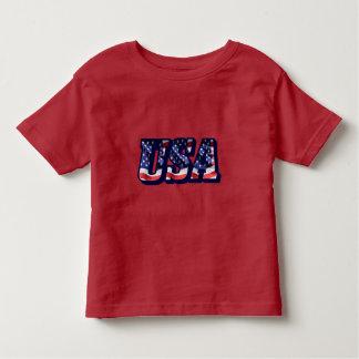 Camiseta Infantil Letras da bandeira dos EUA, t-shirt da criança da