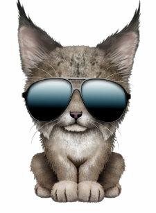 Camiseta Infantil Lince bonito do bebê que veste óculos de sol e325441339