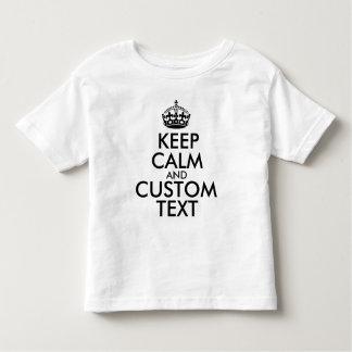 Camiseta Infantil Mantenha a calma e criar seus próprios fazem para