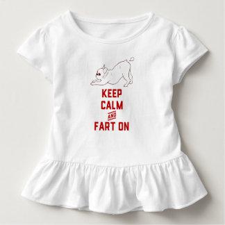 Camiseta Infantil Mantenha a calma e Fart sobre com o buldogue