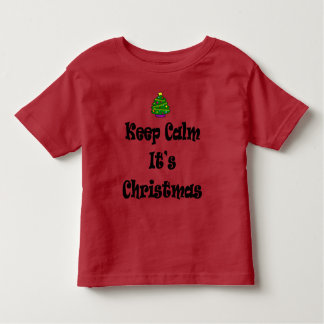 Camiseta Infantil Mantenha a calma seus Natal e árvore