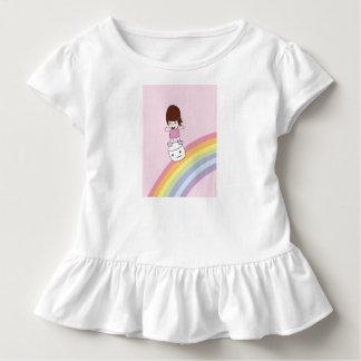 Camiseta Infantil Menina bonito no T do plissado do Marshmallow de w