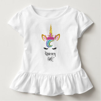 Camiseta Infantil Menina do unicórnio, caligrafia da cara da coroa