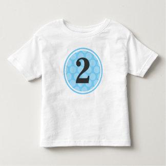 Camiseta Infantil Menino número 2 do aniversário das bolinhas azuis