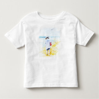 Camiseta Infantil Menino pequeno na praia