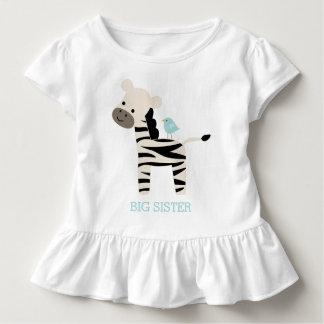 Camiseta Infantil Mensagem bonito do costume da zebra e do pássaro