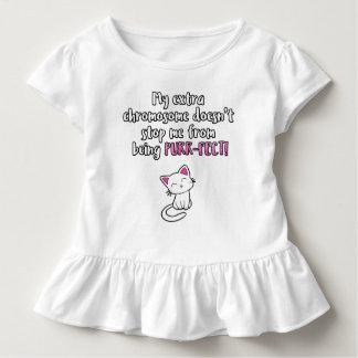 Camiseta Infantil Meu cromossoma extra faz-me PURR-FECT, brilho