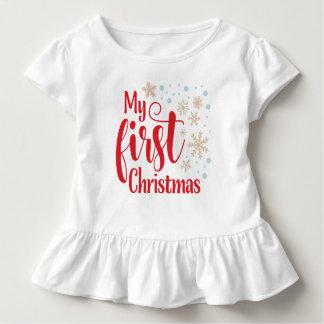 Camiseta Infantil Meu primeiro Natal com flocos de neve |
