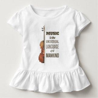 Camiseta Infantil Música o T do plissado da língua universal  